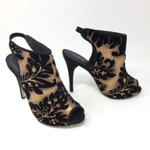 NEW Paper Fox Kandence Gold And Black Velvet Heels